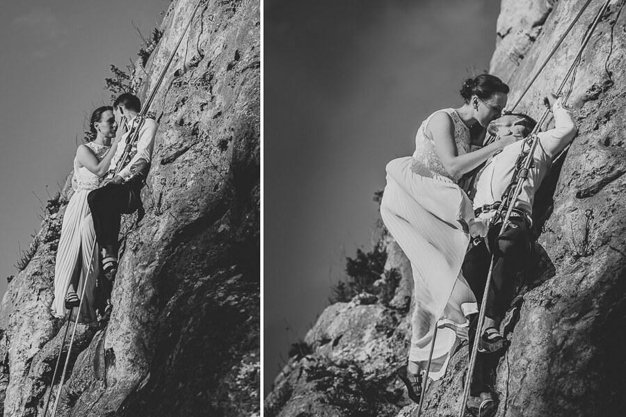 Wspinaczkowa sesja ślubna